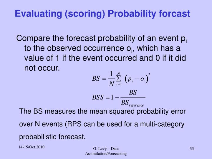 Evaluating (scoring) Probability forcast