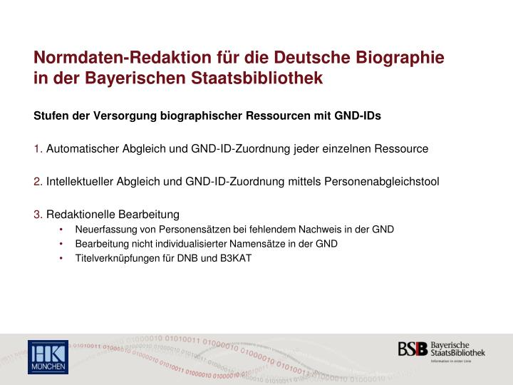 Normdaten-Redaktion für die Deutsche Biographie