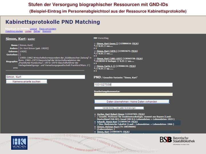Stufen der Versorgung biographischer Ressourcen mit GND-IDs