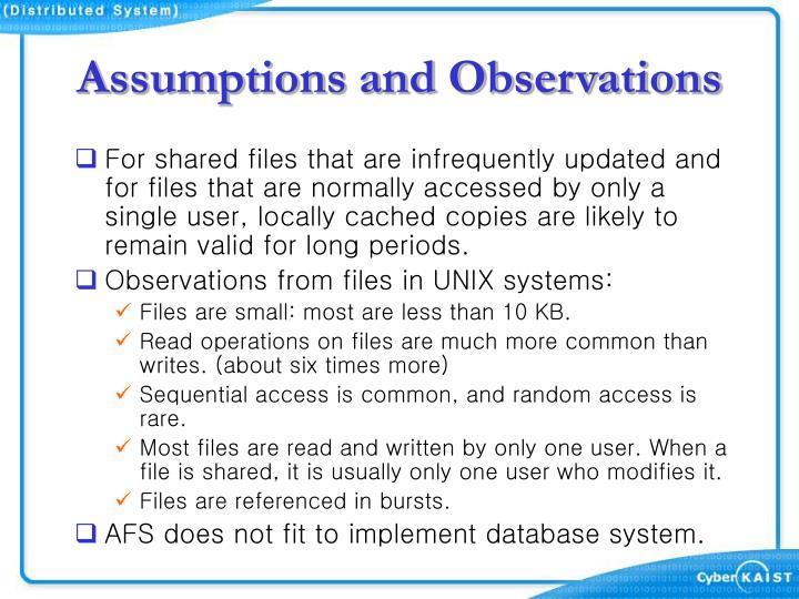 Assumptions and Observations