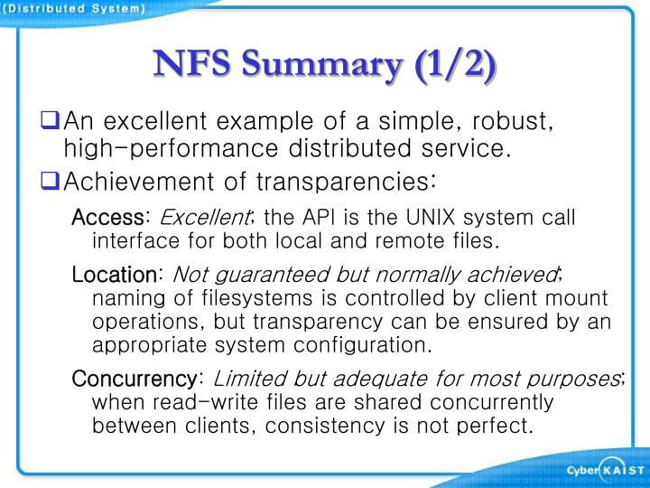 NFS Summary (1/2)