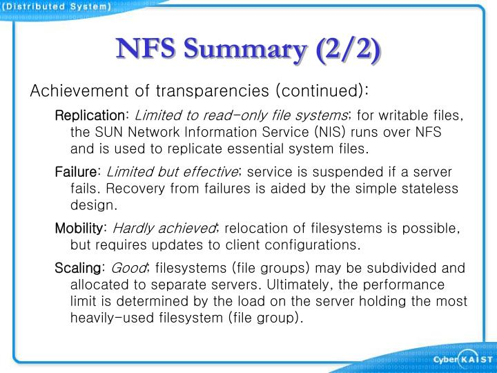 NFS Summary (2/2)
