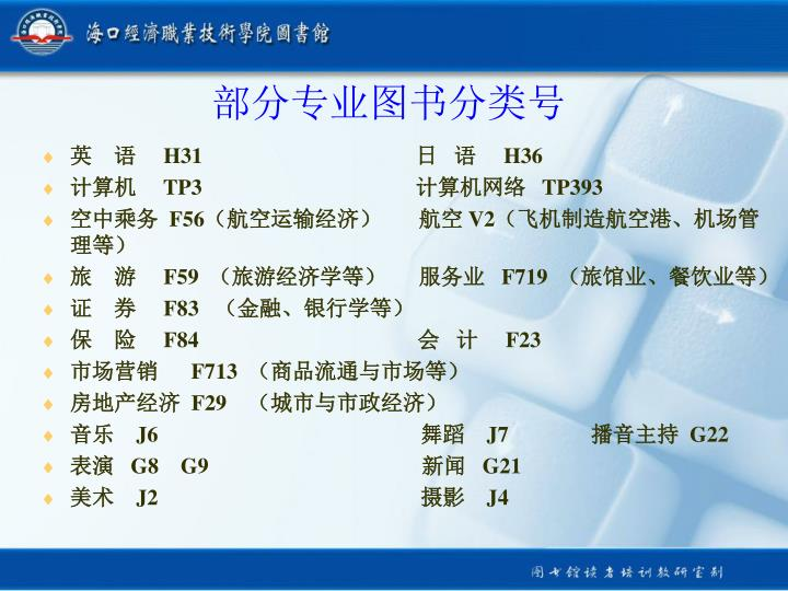 部分专业图书分类号