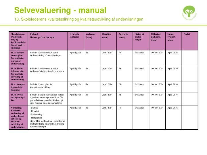 10. Skolelederens kvalitetssikring og kvalitetsudvikling af undervisningen