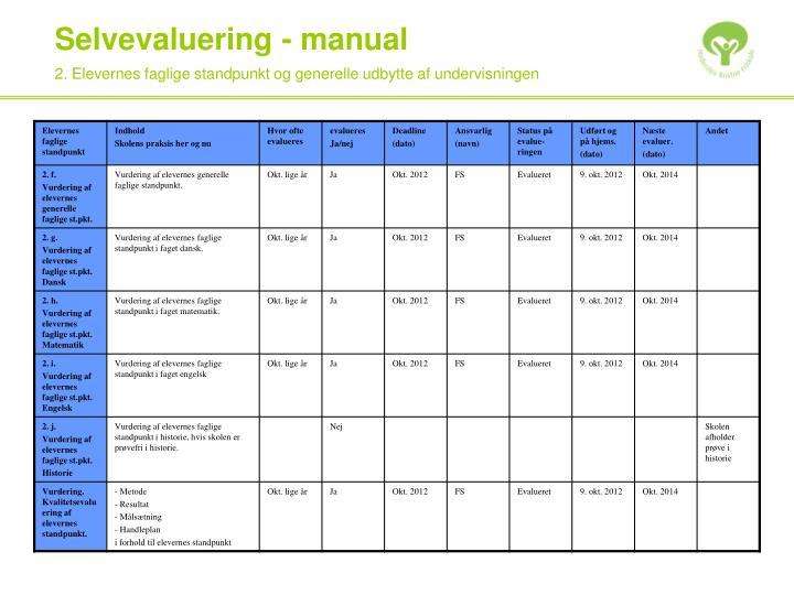 2. Elevernes faglige standpunkt og generelle udbytte af undervisningen