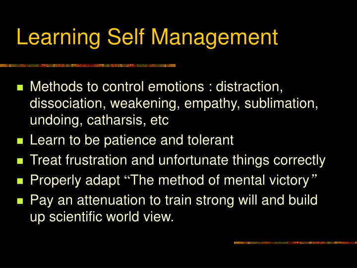Learning Self Management
