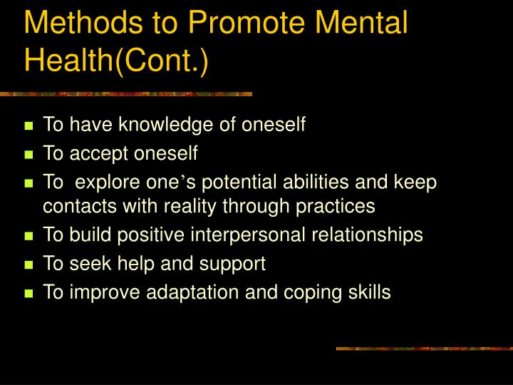Methods to Promote Mental Health