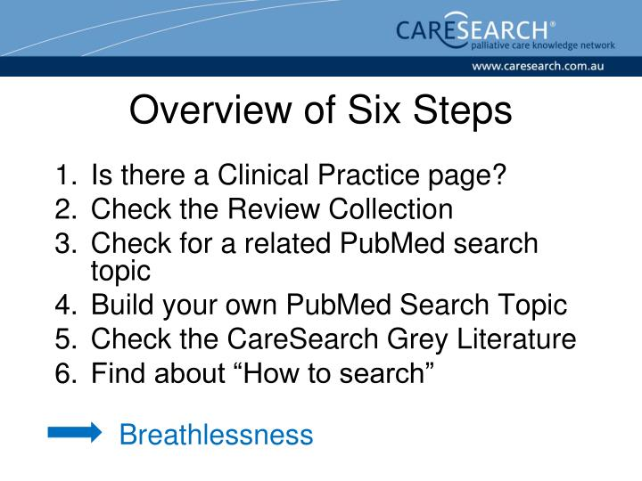 Overview of Six Steps