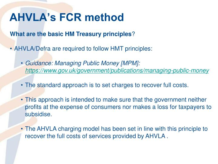 AHVLA's FCR method