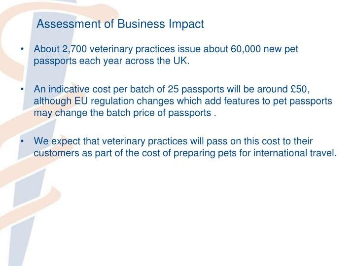 Assessment of Business Impact