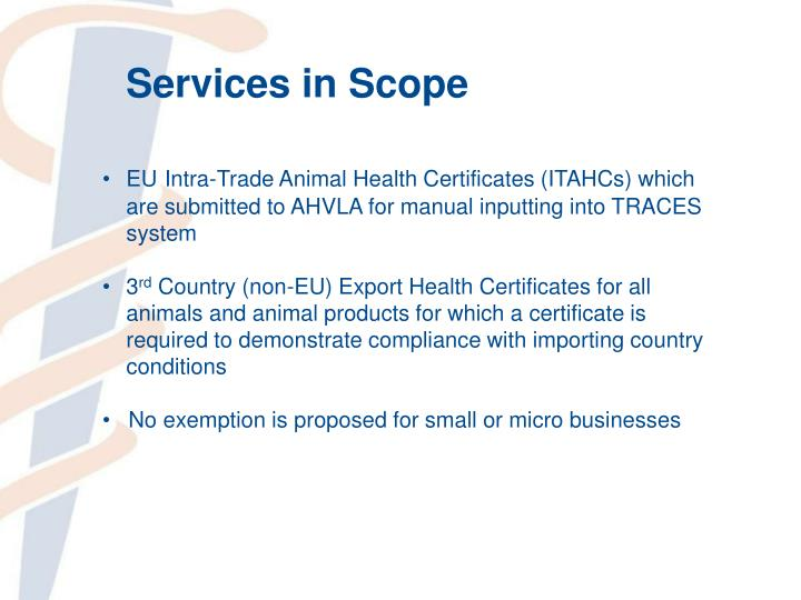 Services in Scope