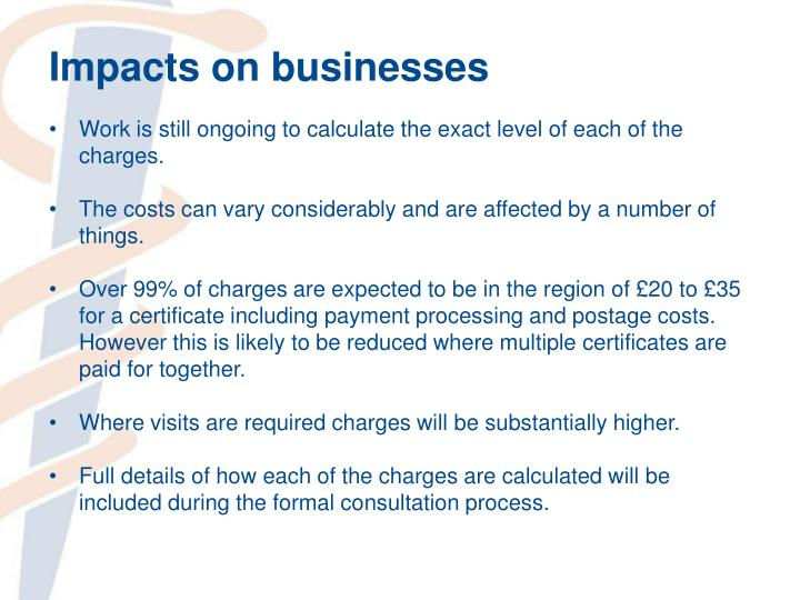 Impacts on businesses