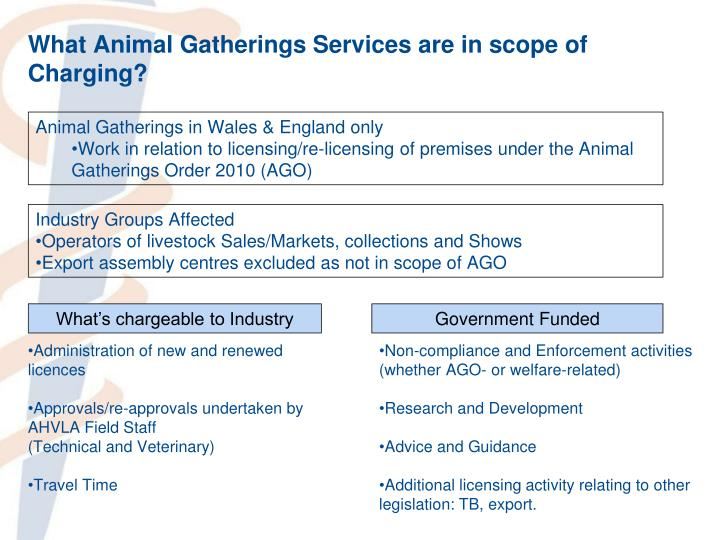What Animal Gatherings Services are in scope of Charging?
