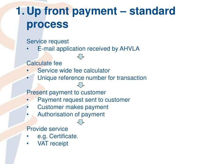 1.Up front payment – standard process