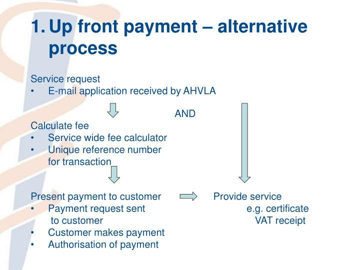 Up front payment – alternative process
