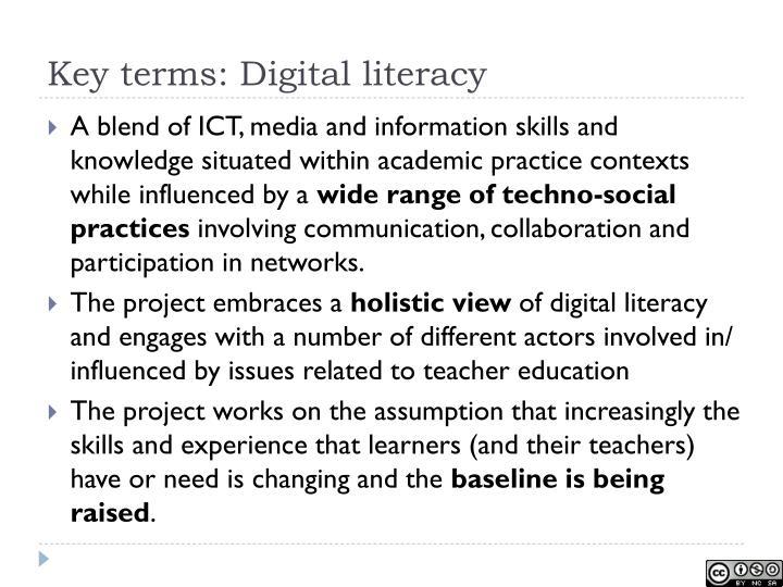 Key terms: Digital literacy