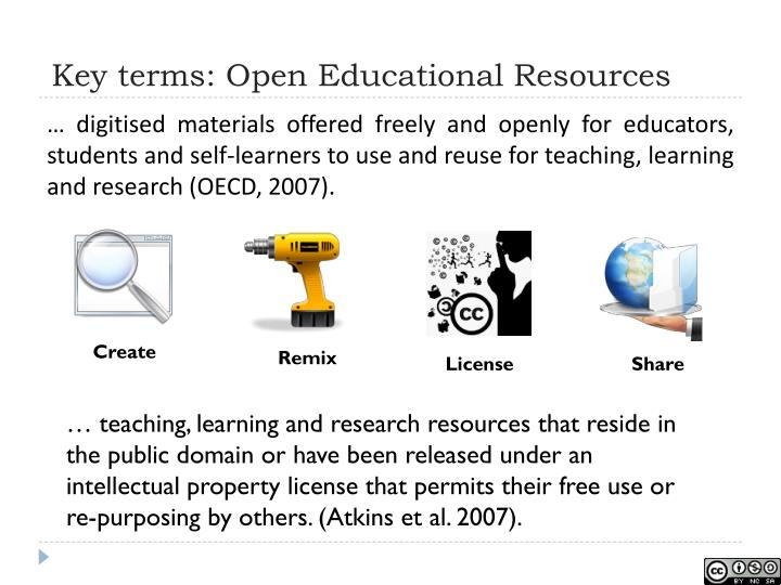 Key terms: Open Educational Resources