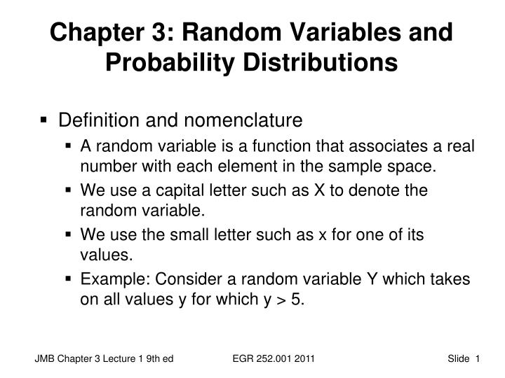 Chapter 3 random variables and probability distributions