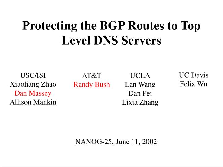 Protecting the bgp routes to top level dns servers
