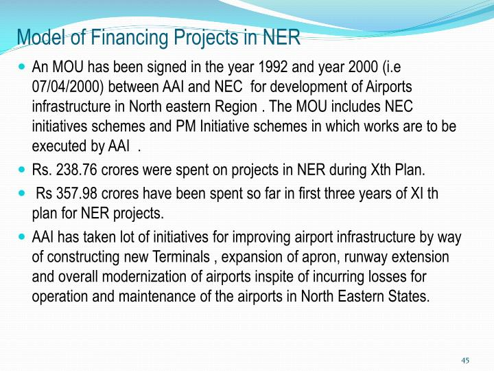 Model of Financing Projects in NER