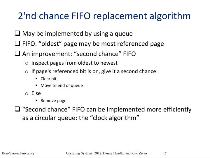 2'nd chance FIFO replacement algorithm