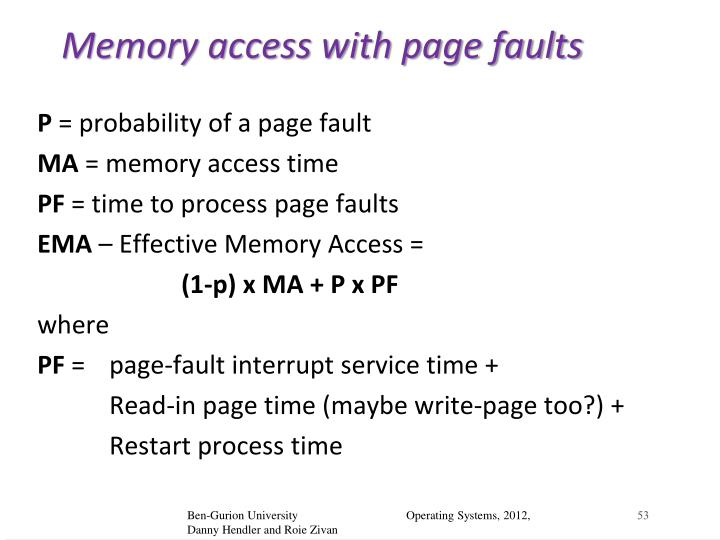 Memory access with page faults