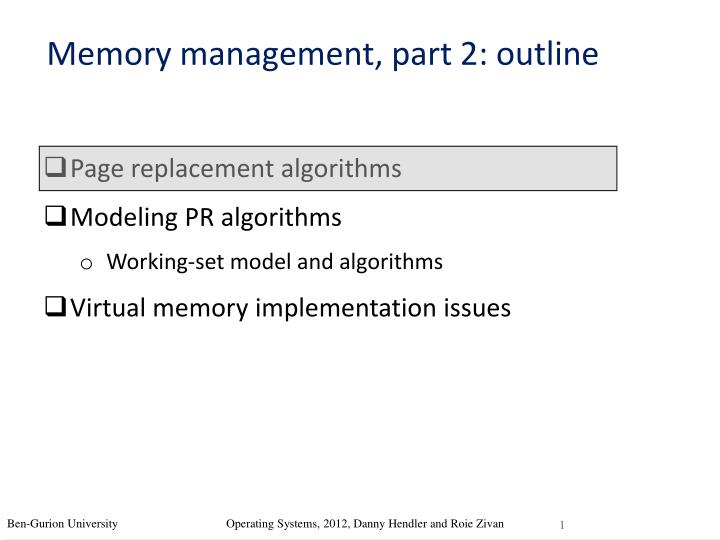 Memory management part 2 outline