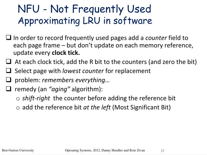 NFU - Not Frequently Used