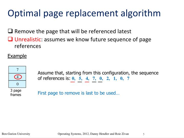 Optimal page replacement algorithm