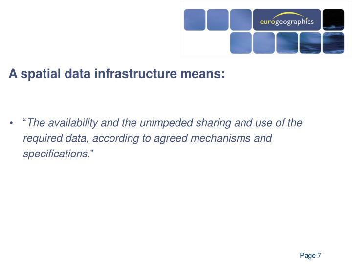 A spatial data infrastructure means: