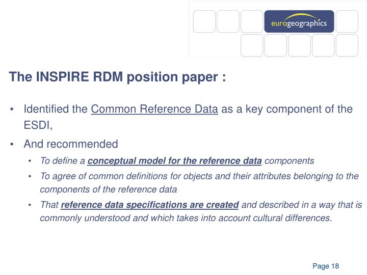 The INSPIRE RDM position paper :