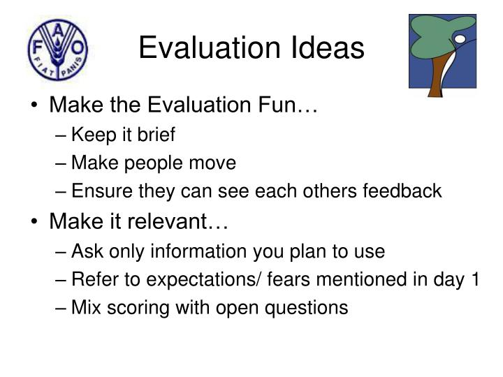 Evaluation ideas