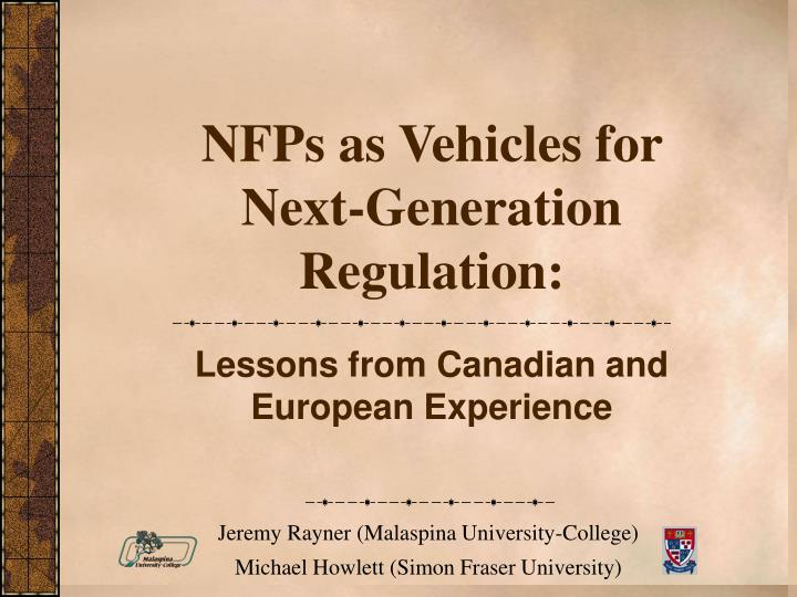 nfps as vehicles for next generation regulation