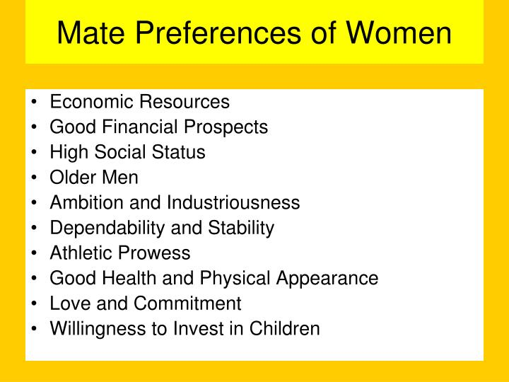 Mate Preferences of Women