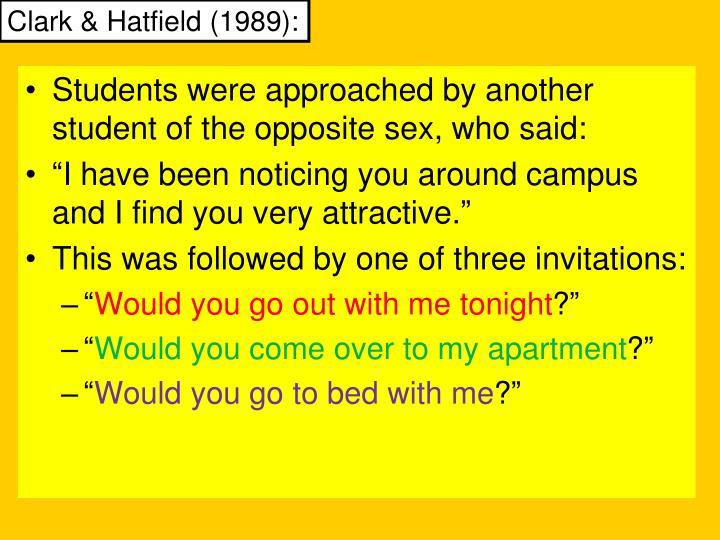 Clark & Hatfield (1989):