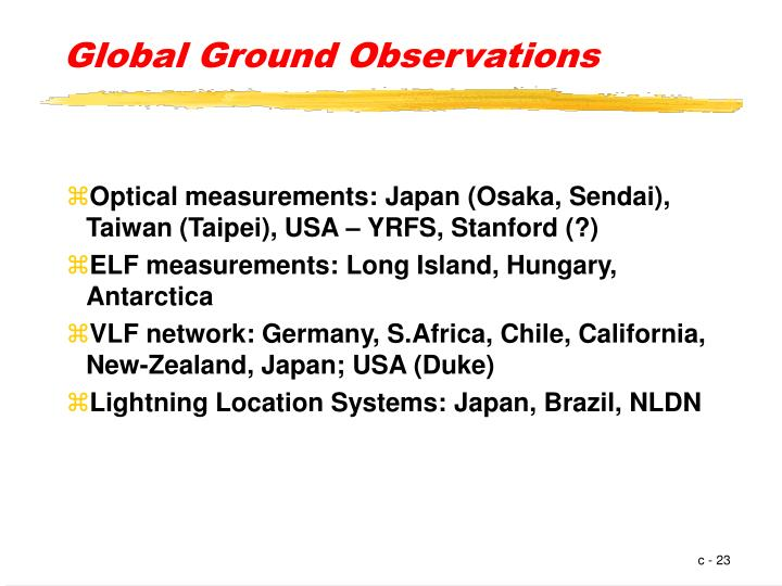 Global Ground Observations