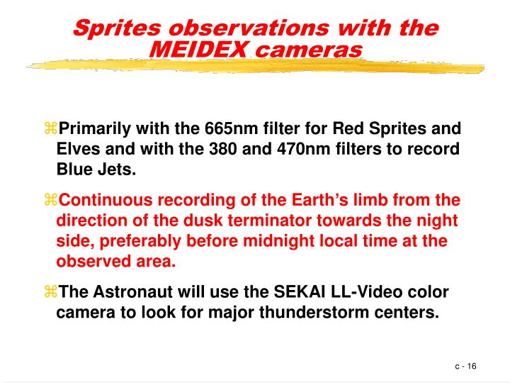 Sprites observations with the MEIDEX cameras