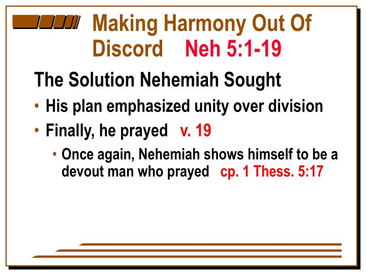 Making Harmony Out Of Discord