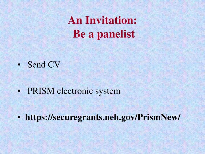 An Invitation: