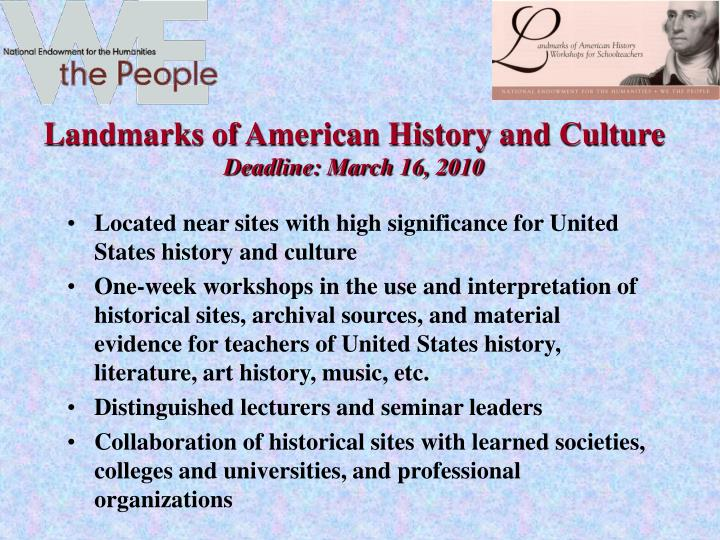 Landmarks of American History and Culture
