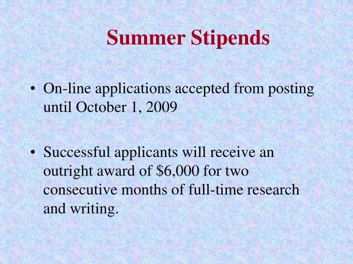Summer Stipends