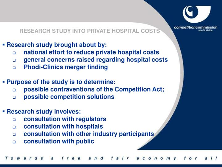 RESEARCH STUDY INTO PRIVATE HOSPITAL COSTS