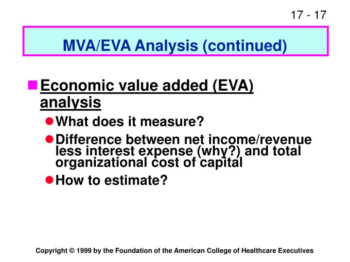 MVA/EVA Analysis (continued)