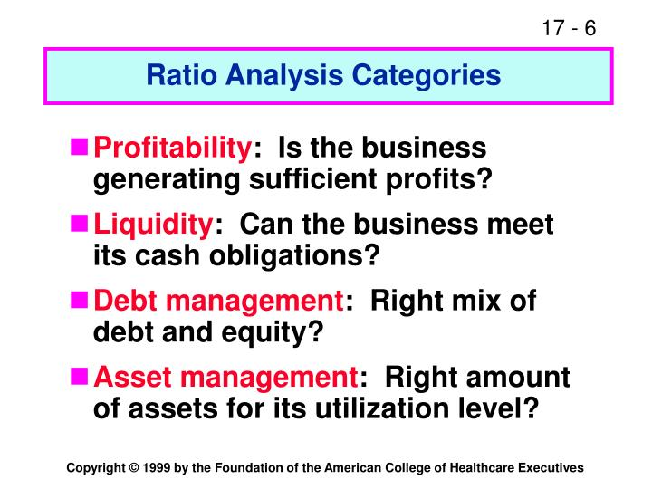 Ratio Analysis Categories