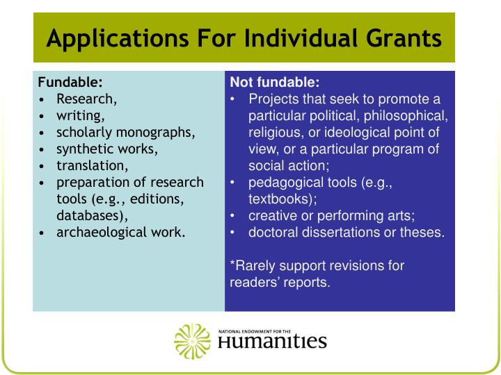 Applications For Individual Grants