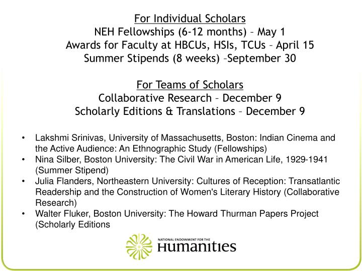 For Individual Scholars