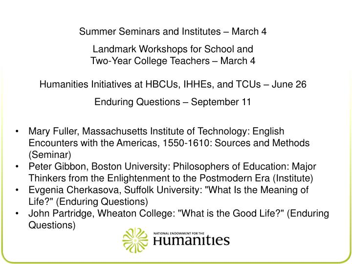 Summer Seminars and Institutes – March 4
