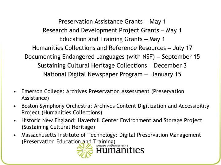 Preservation Assistance Grants