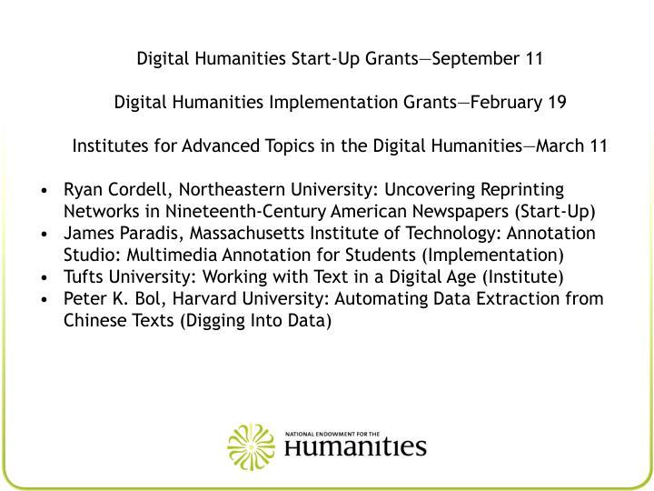 Digital Humanities Start-Up Grants—September 11