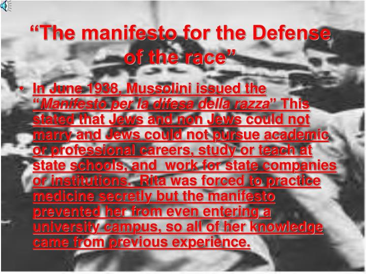 """""""The manifesto for the Defense of the race"""""""
